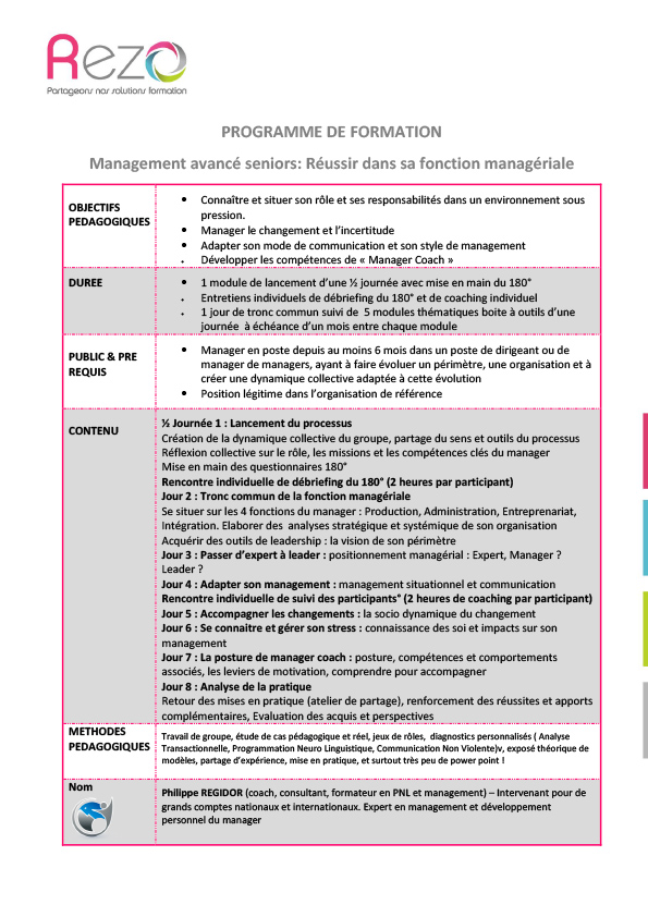 Programme management avancé